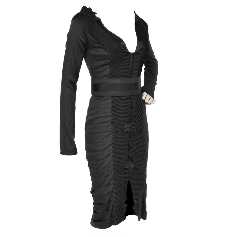 Tom Ford For Gucci Black Pleated Silk Dress, F / W 2004