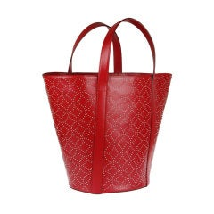 AZZEDINE ALAIA red leather studded tote bag