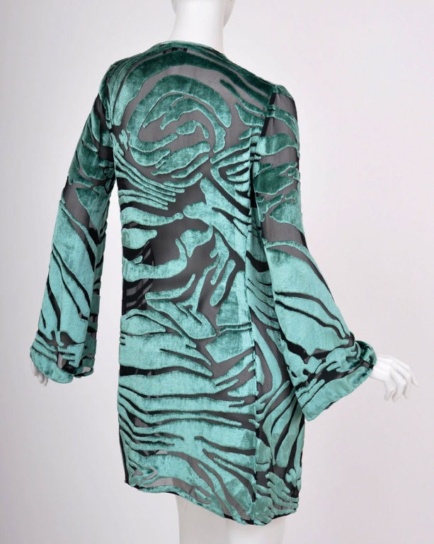 Tom Ford for Gucci Green Velvet and Black Chiffon Tunic 2