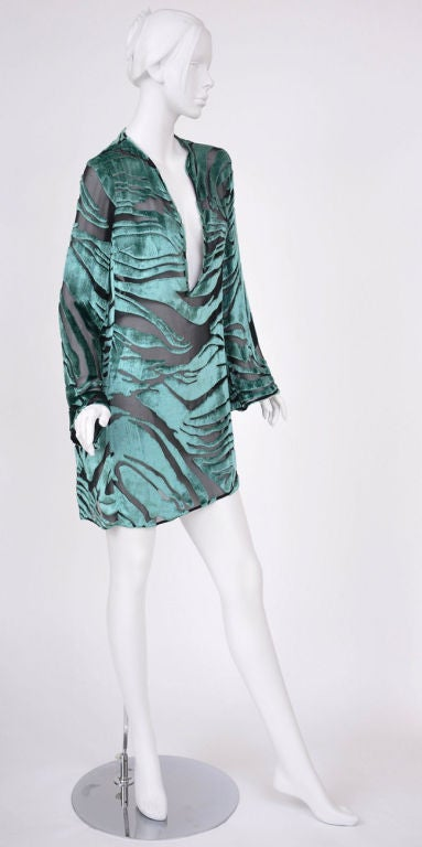 Tom Ford for Gucci Green Velvet and Black Chiffon Tunic 3