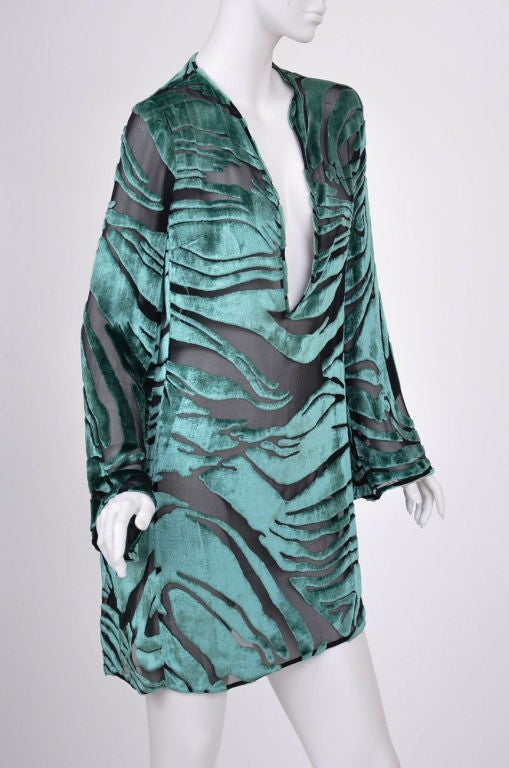 Tom Ford for Gucci Green Velvet and Black Chiffon Tunic 5