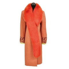 90-s Vintage Gianni Versace Couture Coat with Fox Fur
