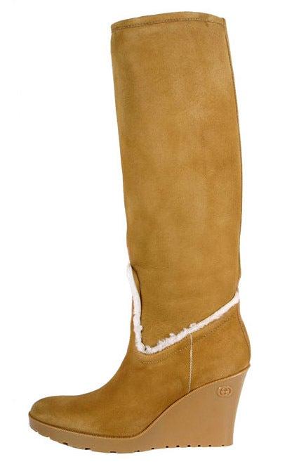 gucci light cognac merino lambskin shearling wedge boots
