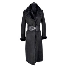 NEW GUCCI BLACK SHEARLING FUR COAT WITH LEATHER BELT