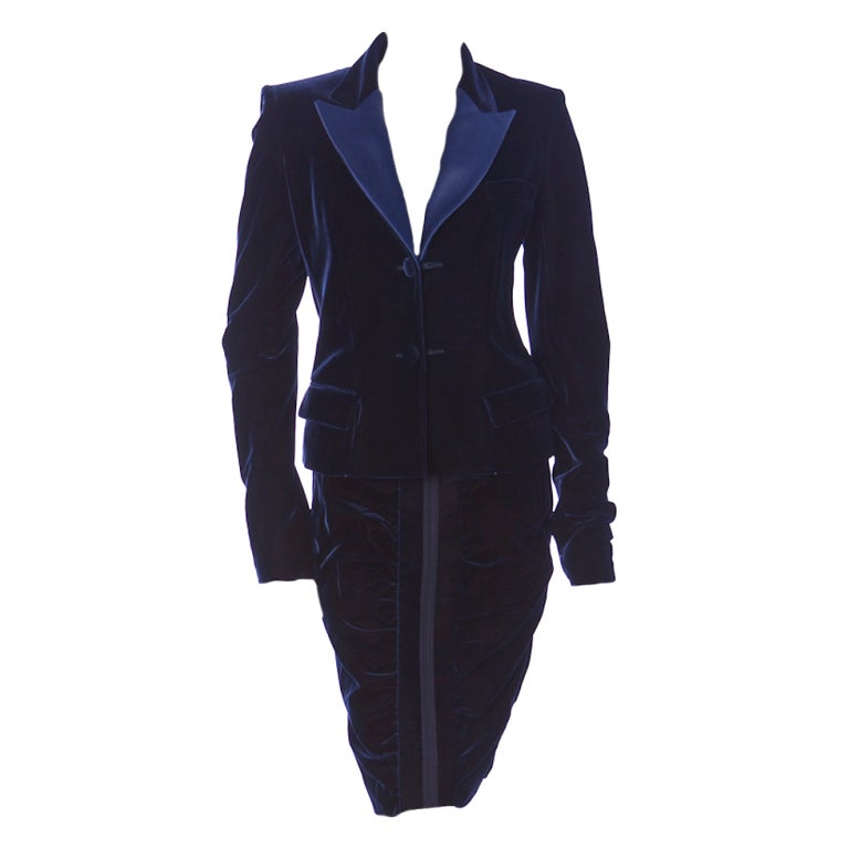 TOM FORD for YVES SAINT LAURENT BLUE VELVET SUIT For Sale