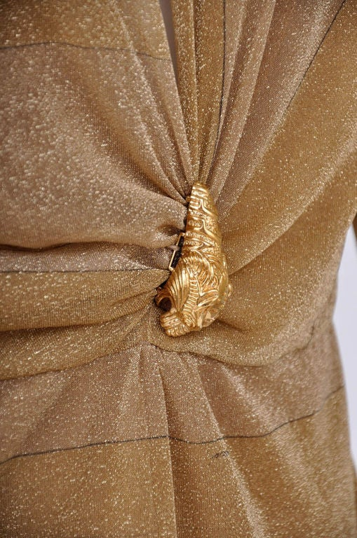 Tom Ford for Gucci Gold Dress with Lion Brooch For Sale 1