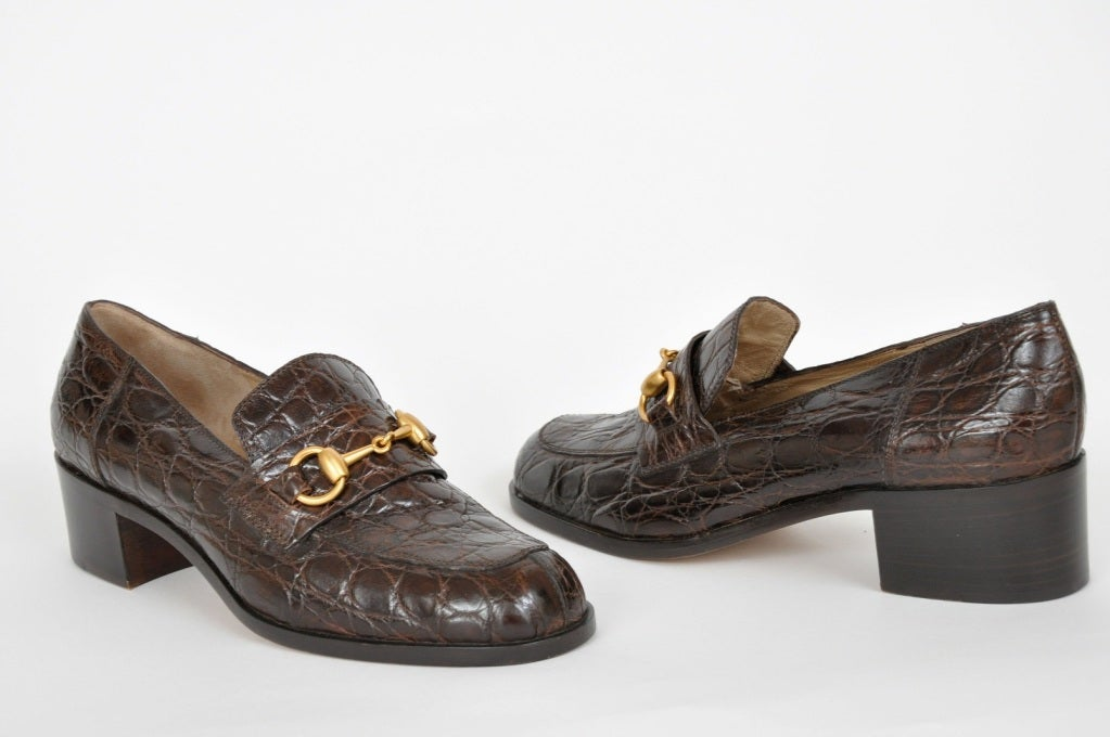 Vintage Gucci Crocodile Loafers 3