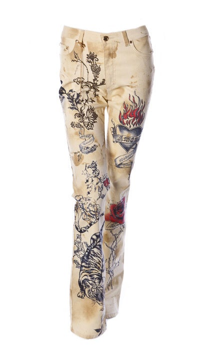 ROBERTO CAVALLI TIGER AMOUR TATTOO PANTS JEANS 2