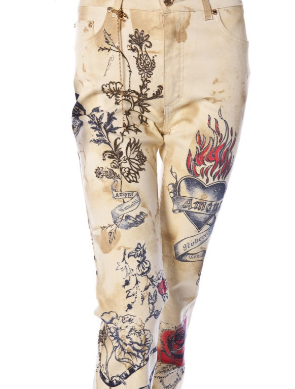 ROBERTO CAVALLI TIGER AMOUR TATTOO PANTS JEANS 3