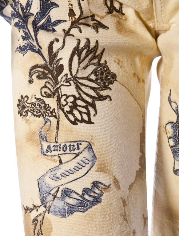 ROBERTO CAVALLI TIGER AMOUR TATTOO PANTS JEANS 4
