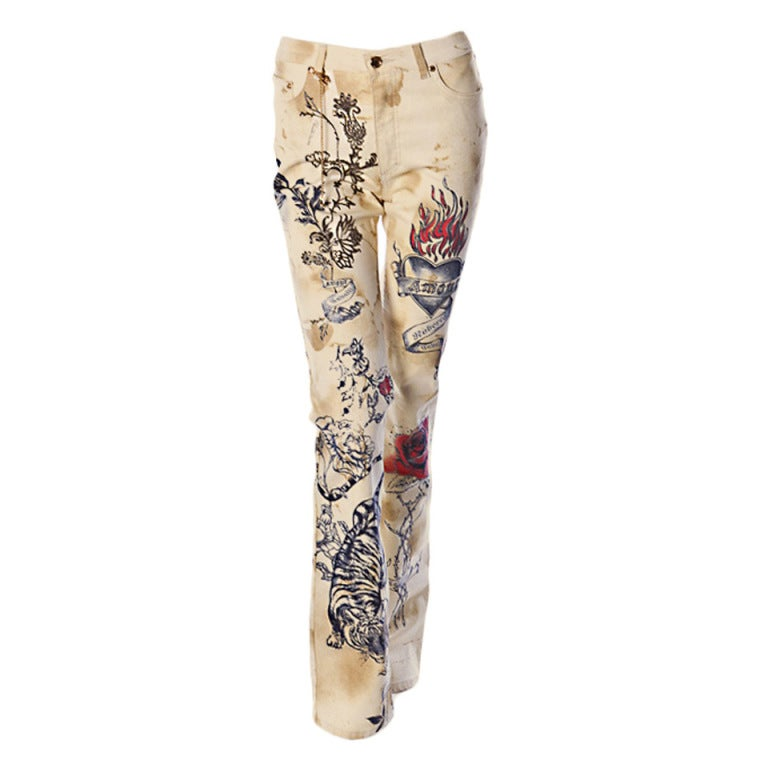 ROBERTO CAVALLI TIGER AMOUR TATTOO PANTS JEANS 1