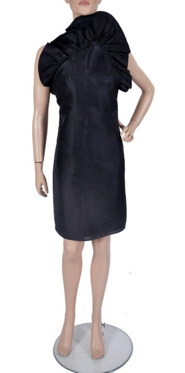 TOM FORD for GUCCI BLACK SILK DRESS  F/W 2000 collection  100% silk  leather strap  size 38