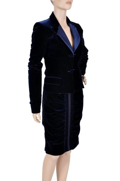 Black TOM FORD for YVES SAINT LAURENT BLUE VELVET SUIT For Sale
