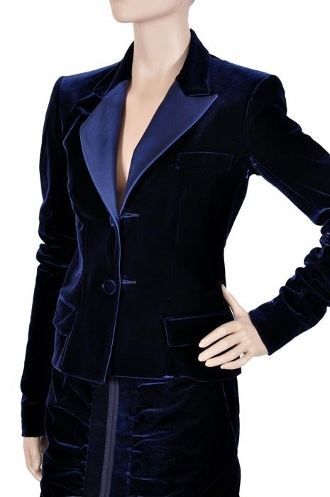 Women's TOM FORD for YVES SAINT LAURENT BLUE VELVET SUIT For Sale