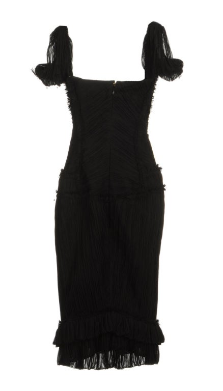 ALEXANDER MCQUEEN PLEATED BLACK SILK DRESS with CORSET 2