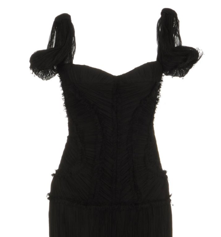 ALEXANDER MCQUEEN PLEATED BLACK SILK DRESS with CORSET 3