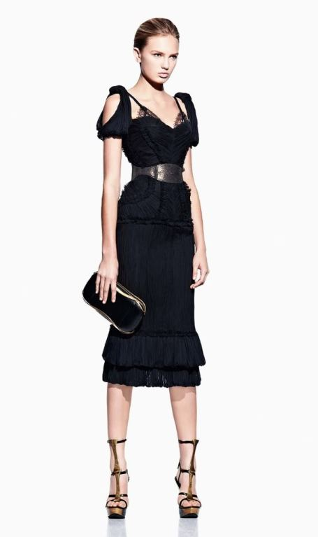 ALEXANDER MCQUEEN PLEATED BLACK SILK DRESS with CORSET 4