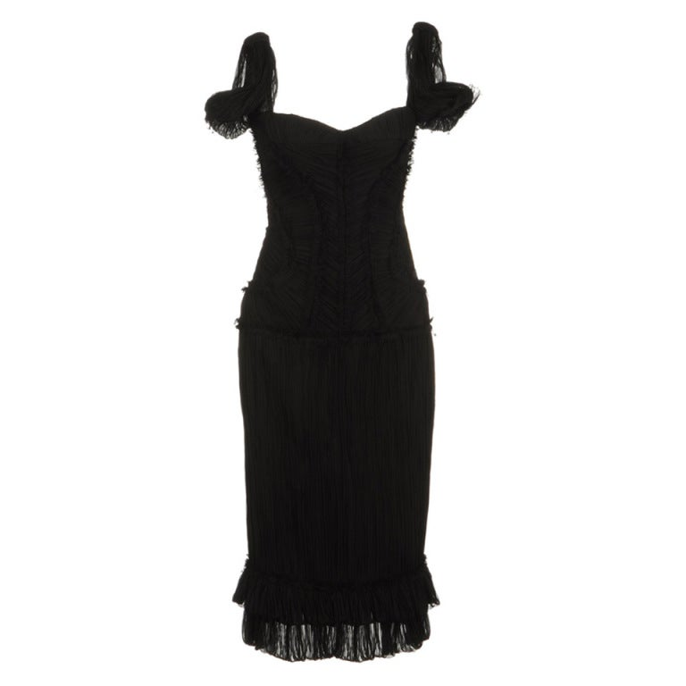 ALEXANDER MCQUEEN PLEATED BLACK SILK DRESS with CORSET 1