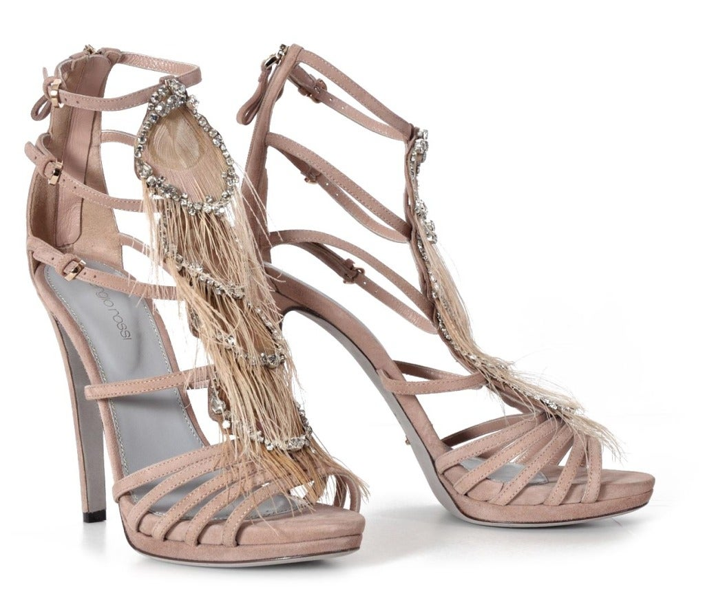 Sergio Rossi Nude Platform Shoes With Crystals & Feathers image 3