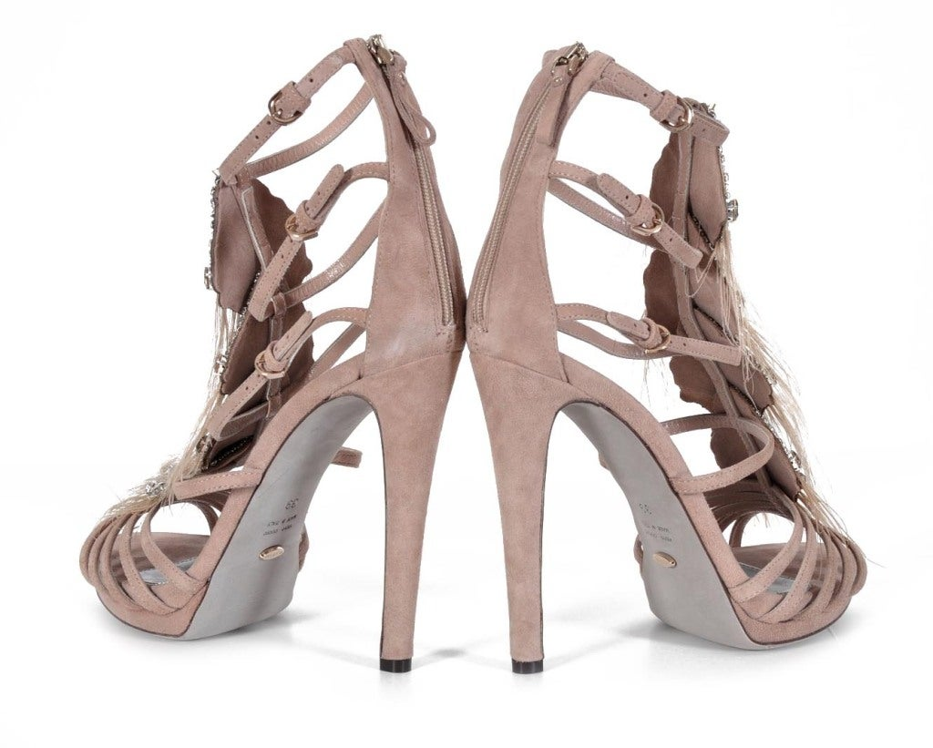 Sergio Rossi Nude Platform Shoes With Crystals & Feathers image 4