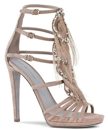 Sergio Rossi Nude Platform Shoes With Crystals & Feathers image 2