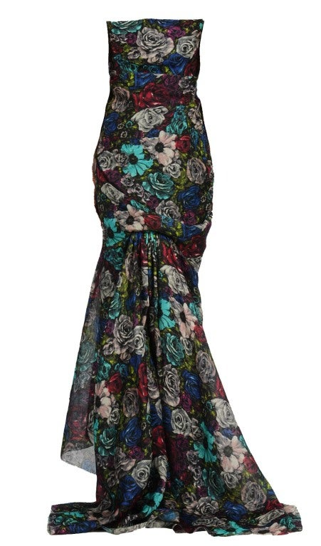 Lanvin Floral print long bustier dress image 2