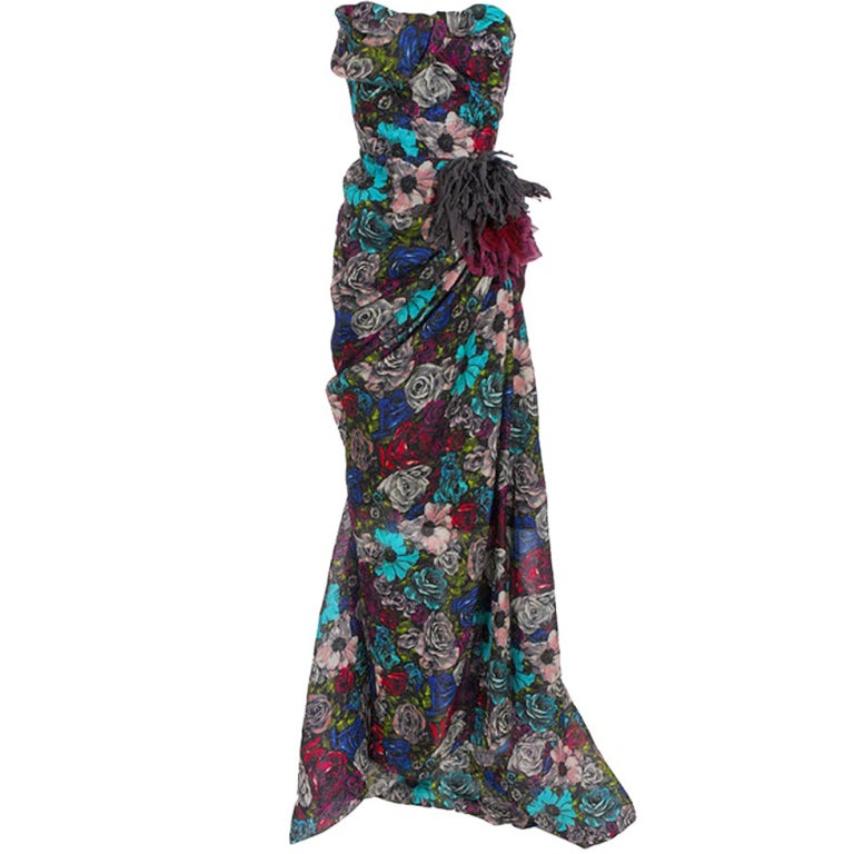 Lanvin Floral print long bustier dress