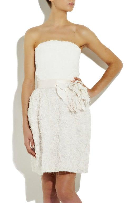 LANVIN Silk rosette-detailed Bustier Dress 2