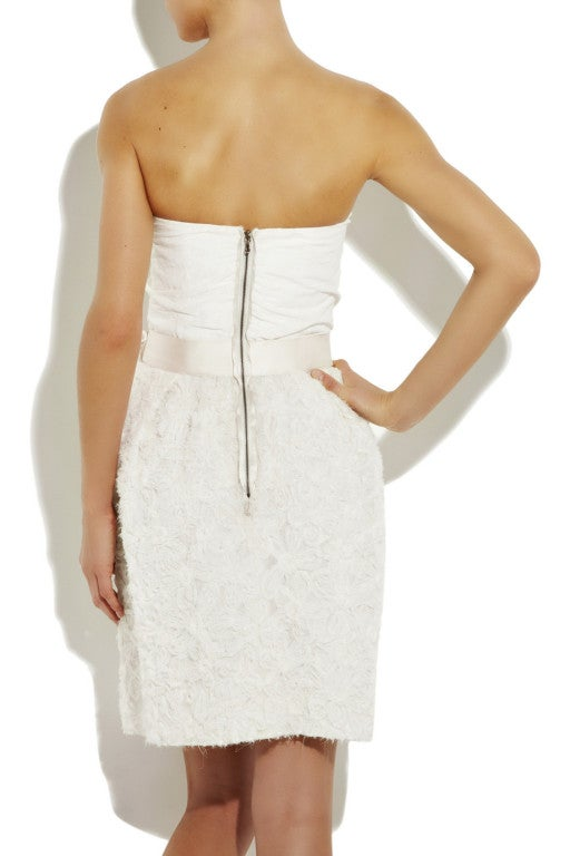LANVIN Silk rosette-detailed Bustier Dress 3