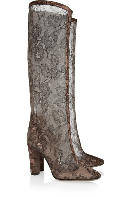 VALENTINO Lace-appliquéd mesh knee boots 2