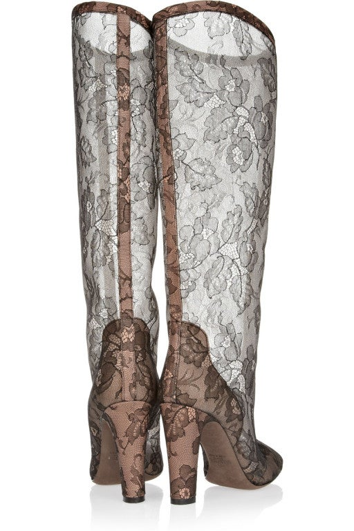 VALENTINO Lace-appliquéd mesh knee boots 3