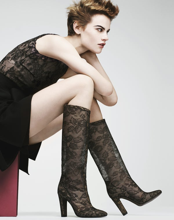 VALENTINO Lace-appliquéd mesh knee boots 5