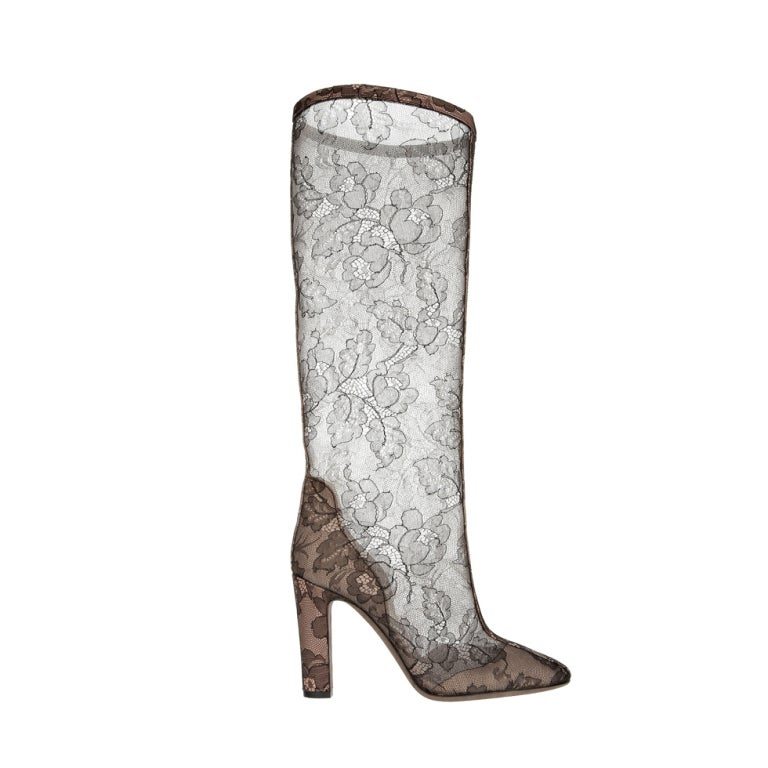 VALENTINO Lace-appliquéd mesh knee boots 1
