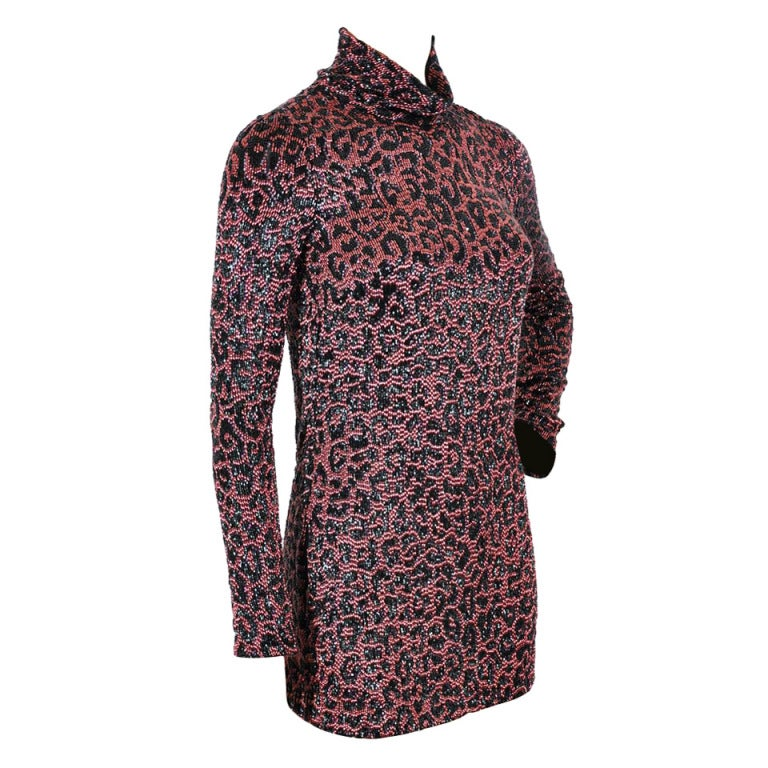 294386485 GUCCI ANIMAL PRINT FULLY BEADED MINI DRESS Size 40 For Sale at 1stdibs