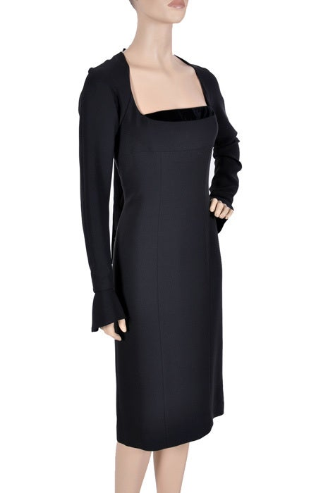 Tom Ford for Yves Saint Laurent Black Silk and Velvet Dress In New Condition For Sale In Montgomery, TX