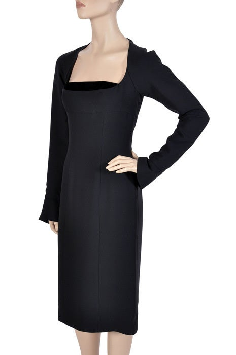 Women's Tom Ford for Yves Saint Laurent Black Silk and Velvet Dress For Sale