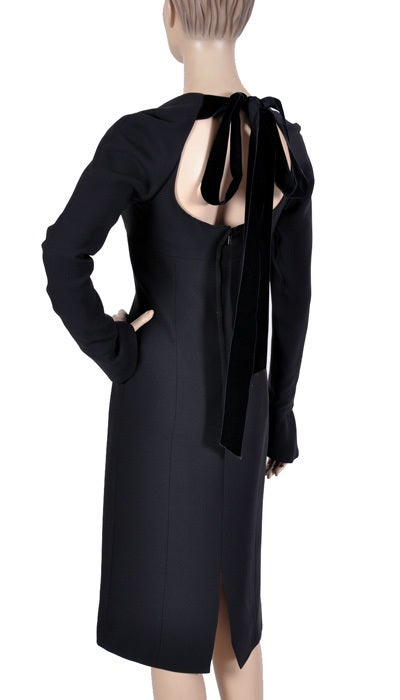 Tom Ford for Yves Saint Laurent Black Silk and Velvet Dress For Sale 2