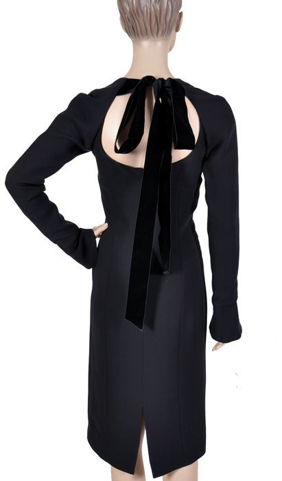 Tom Ford for Yves Saint Laurent Black Silk and Velvet Dress For Sale 3