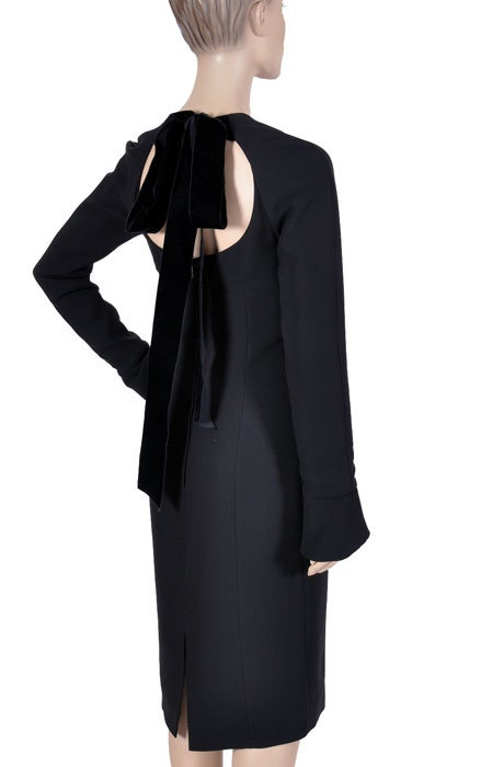 Tom Ford for Yves Saint Laurent Black Silk and Velvet Dress For Sale 4
