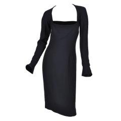 Tom Ford for Yves Saint Laurent Black Silk and Velvet Dress
