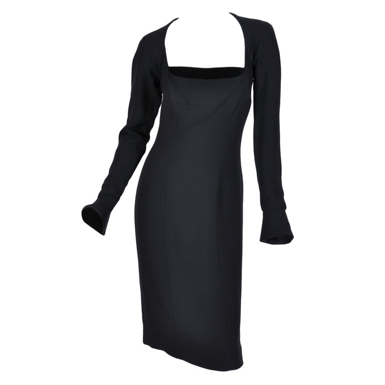 Tom Ford for Yves Saint Laurent Black Silk and Velvet Dress For Sale