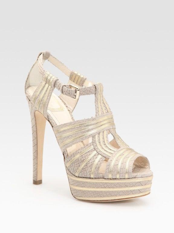DIOR Python Print and Leather Platform Sandals 2