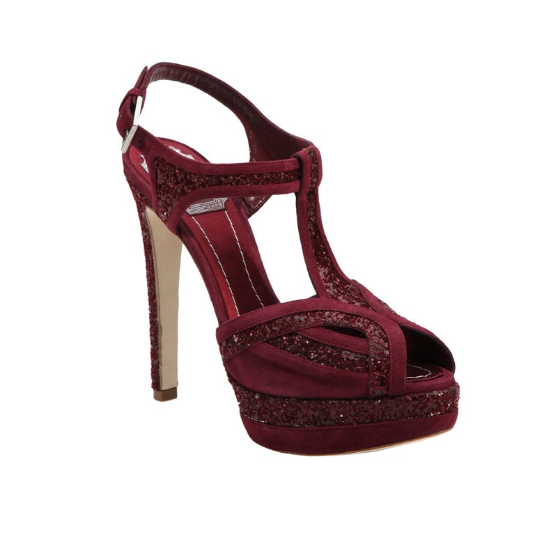 DIOR Burgundy Glitter and Suede T-strap Sandals 1
