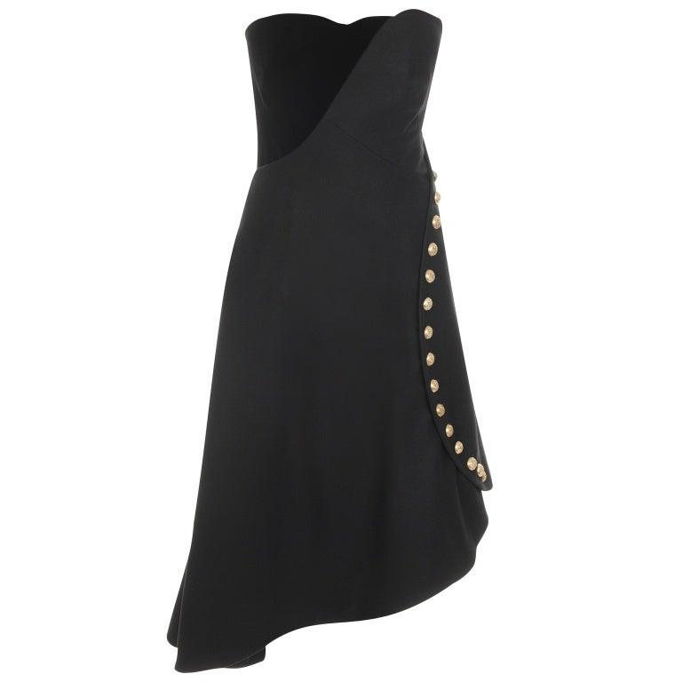 ALEXANDER MCQUEEN BLACK FELT MILITARY BUSTIER DRESS 1