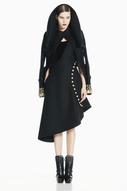 ALEXANDER MCQUEEN BLACK FELT MILITARY BUSTIER DRESS 2
