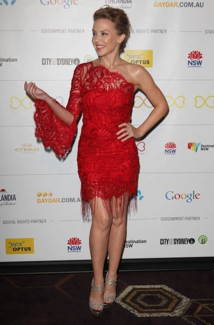 Kylie Minogue's Emilio Pucci Assymetric beaded lace dress image 4
