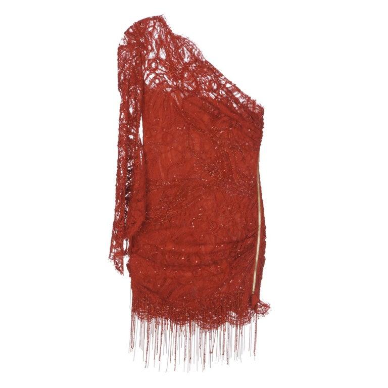 Kylie Minogue's Emilio Pucci Assymetric beaded lace dress