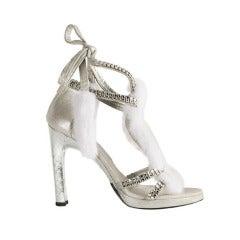 Gucci Tom Ford Snakeskin and Mink Fur Sandals