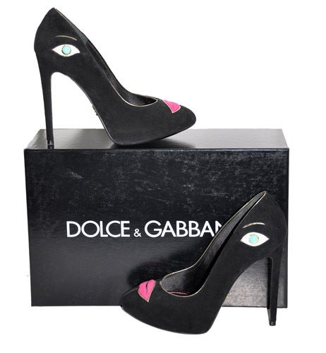 Make a statement with your footwear for fall in Dolce & Gabbana's infamous Portrait shoes!  Color: Black Suede Hidden 3/4