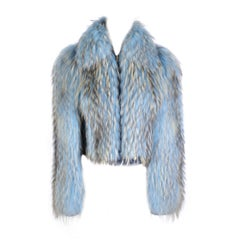 F/W 2001 Vintage Gianni Versace Couture Blue Fur Jacket
